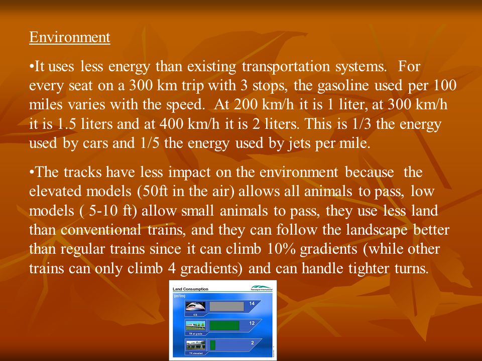 Environment It uses less energy than existing transportation systems. For every seat on a 300 km trip with 3 stops, the gasoline used per 100 miles va