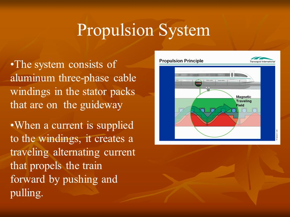 Propulsion System The system consists of aluminum three-phase cable windings in the stator packs that are on the guideway When a current is supplied t