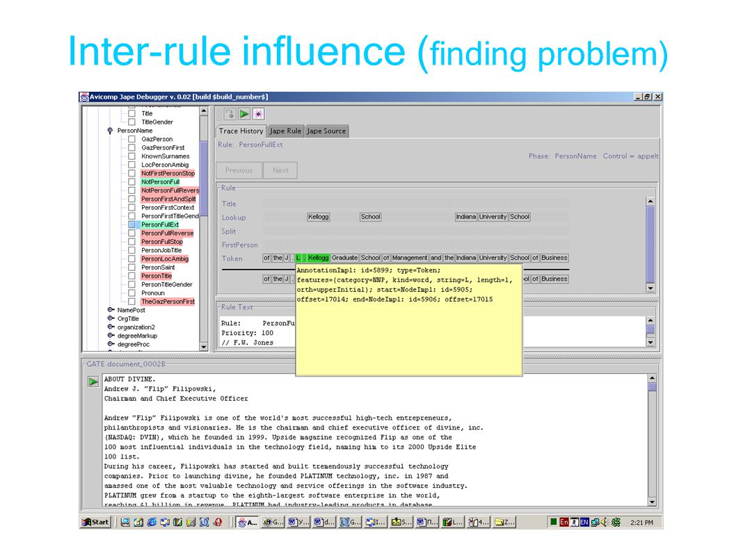 Inter-rule influence ( finding problem)