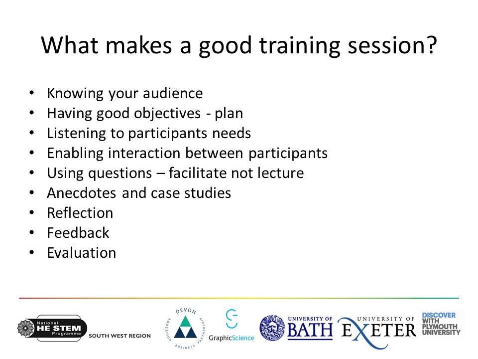 What makes a good training session.