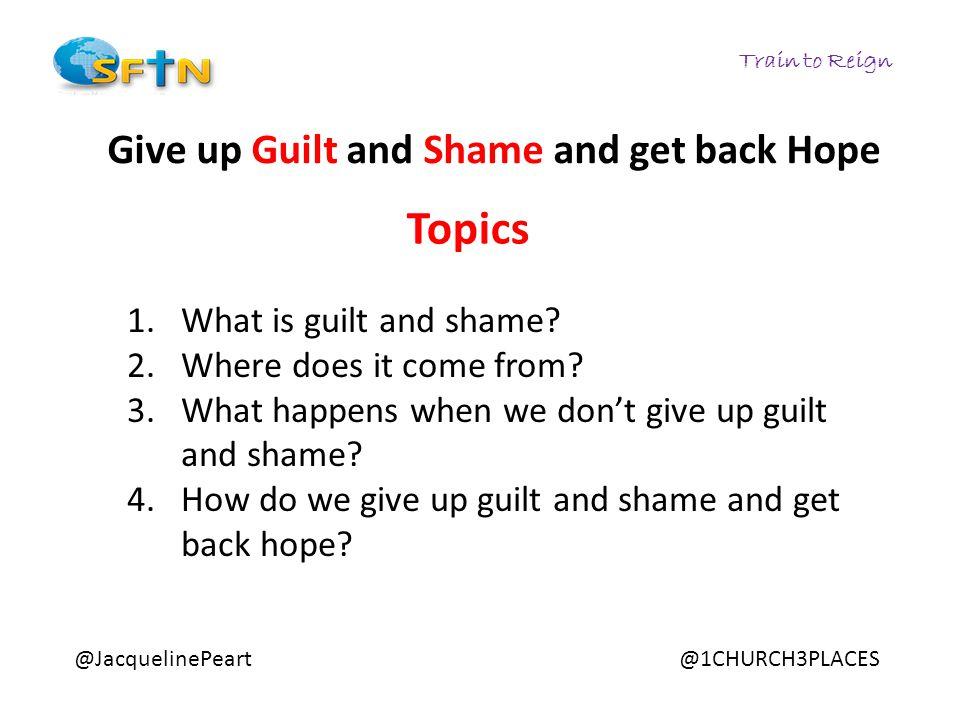 Train to Reign @JacquelinePeart@1CHURCH3PLACES Give up Guilt and Shame and get back Hope 1.What is guilt and shame? 2.Where does it come from? 3.What