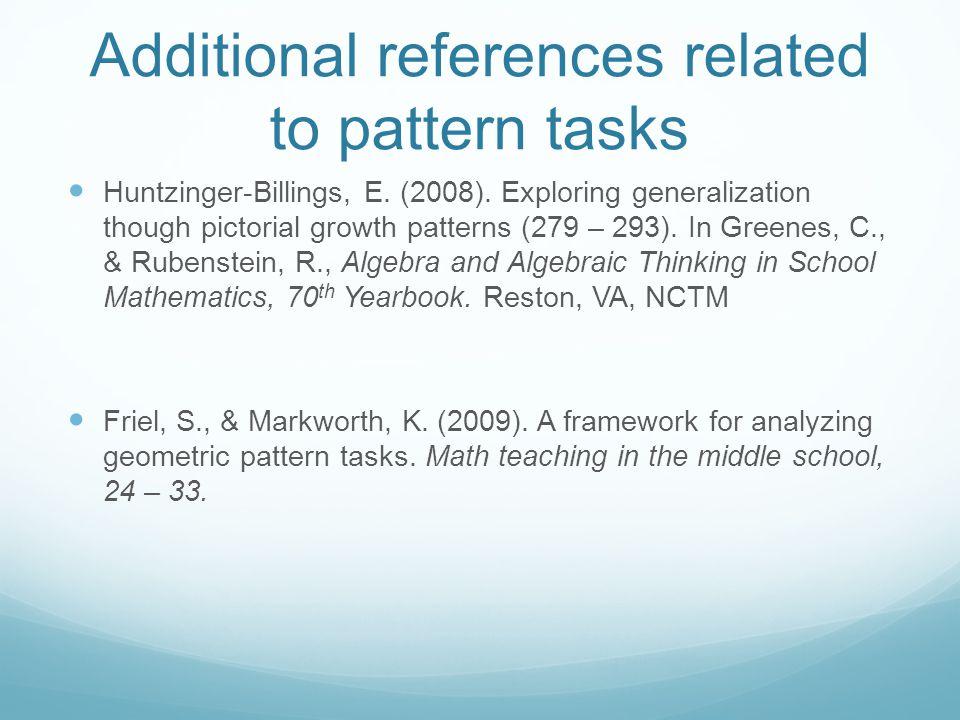 Additional references related to pattern tasks Huntzinger-Billings, E.