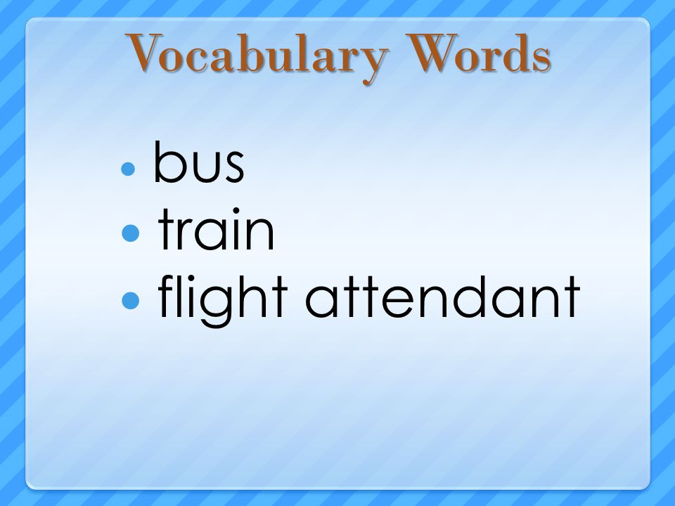 Vocabulary Words bus train flight attendant