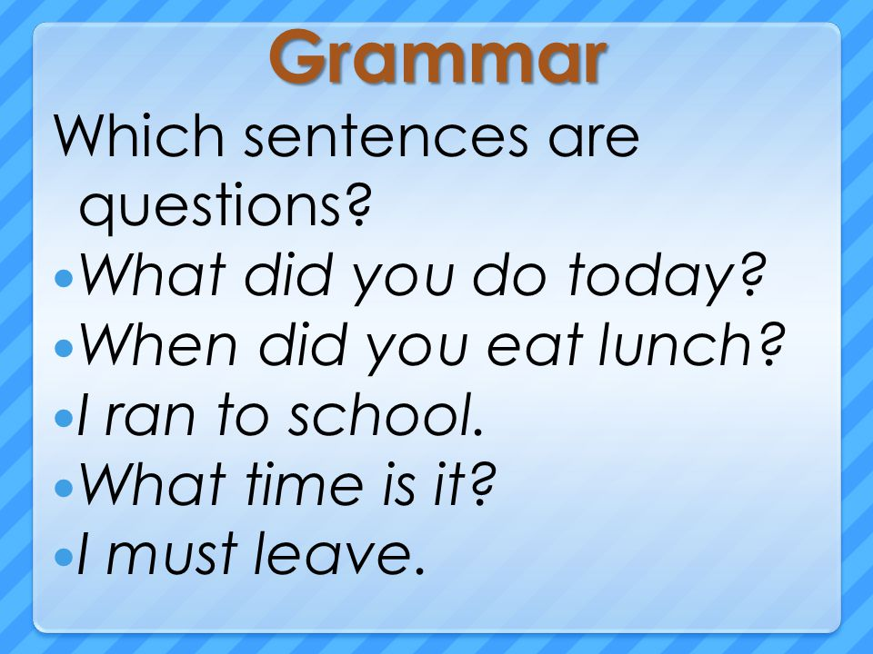 Grammar Which sentences are questions. What did you do today.