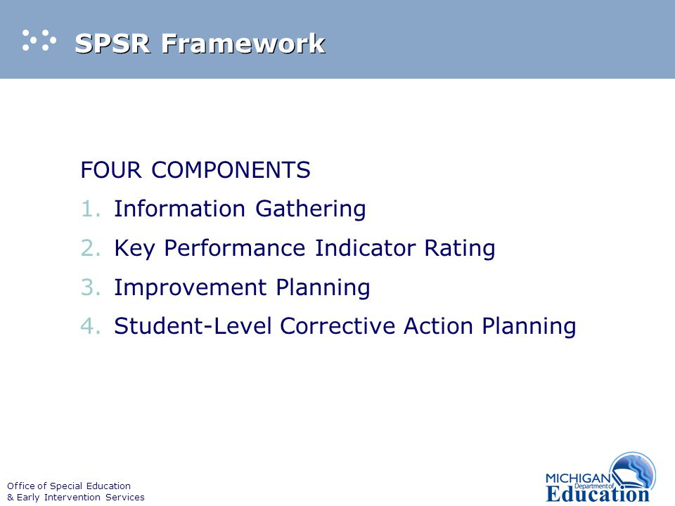 Office of Special Education & Early Intervention Services SPSR Framework FOUR COMPONENTS 1.Information Gathering 2.Key Performance Indicator Rating 3.Improvement Planning 4.Student-Level Corrective Action Planning