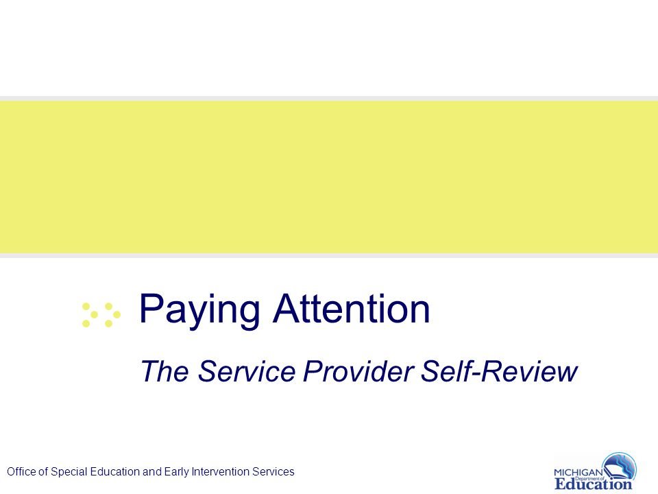 Office of Special Education and Early Intervention Services Paying Attention The Service Provider Self-Review