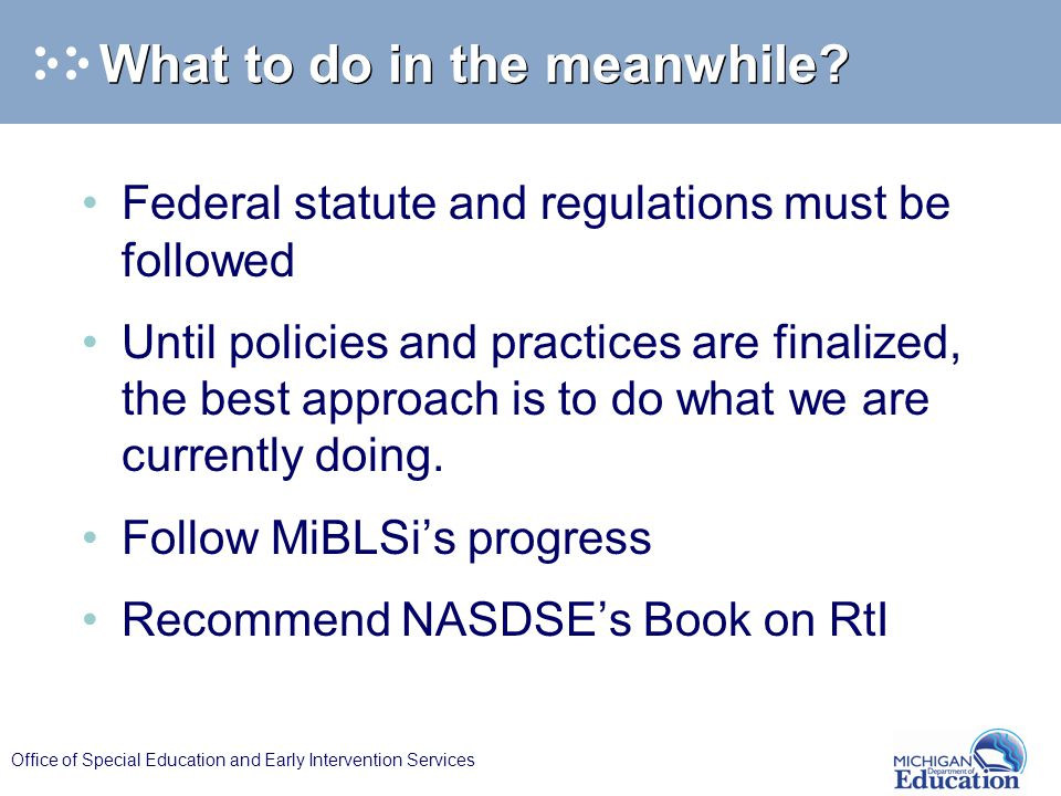 Office of Special Education and Early Intervention Services What to do in the meanwhile.