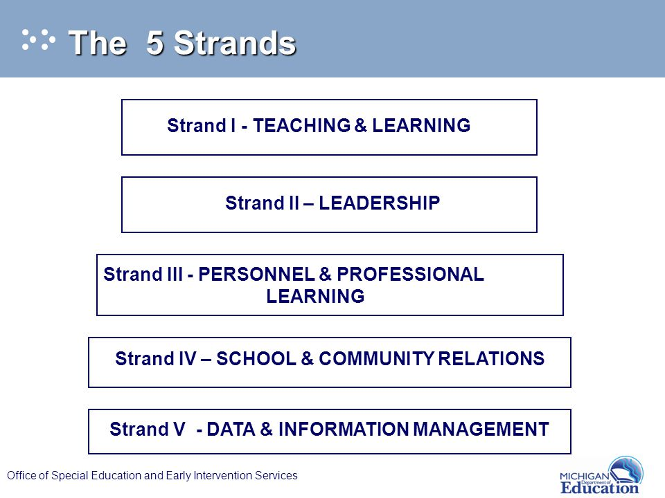 Office of Special Education and Early Intervention Services Strand I - TEACHING & LEARNING Strand II – LEADERSHIP Strand III - PERSONNEL & PROFESSIONAL LEARNING Strand V - DATA & INFORMATION MANAGEMENT Strand IV – SCHOOL & COMMUNITY RELATIONS The 5 Strands