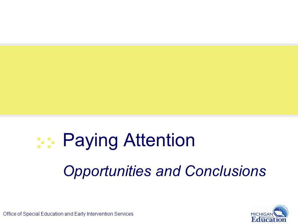 Office of Special Education and Early Intervention Services Paying Attention Opportunities and Conclusions