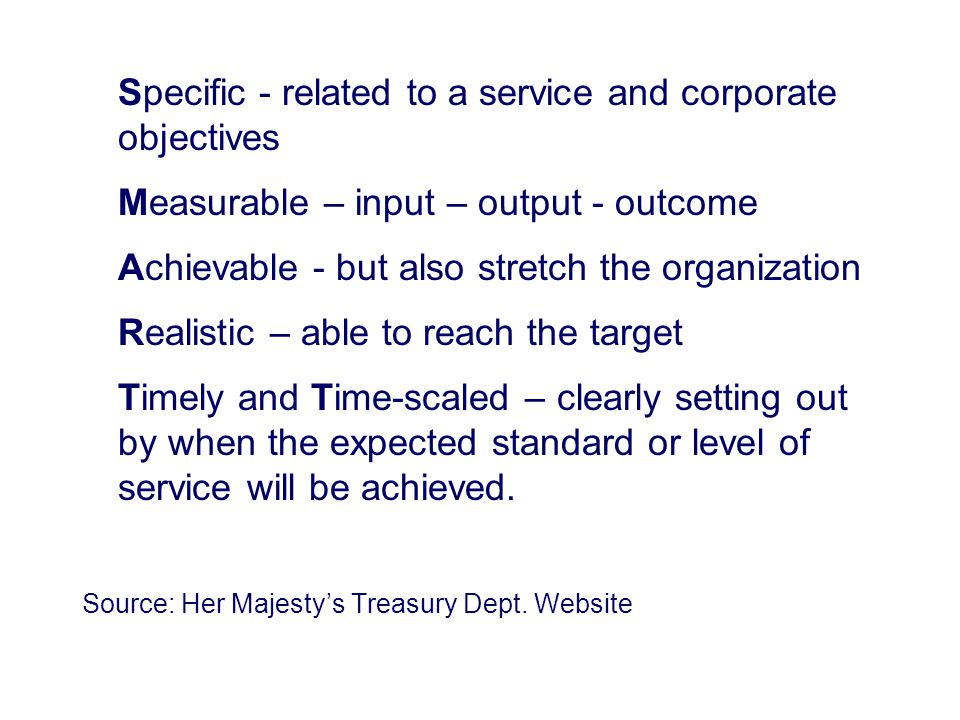 Specific - related to a service and corporate objectives Measurable – input – output - outcome Achievable - but also stretch the organization Realisti
