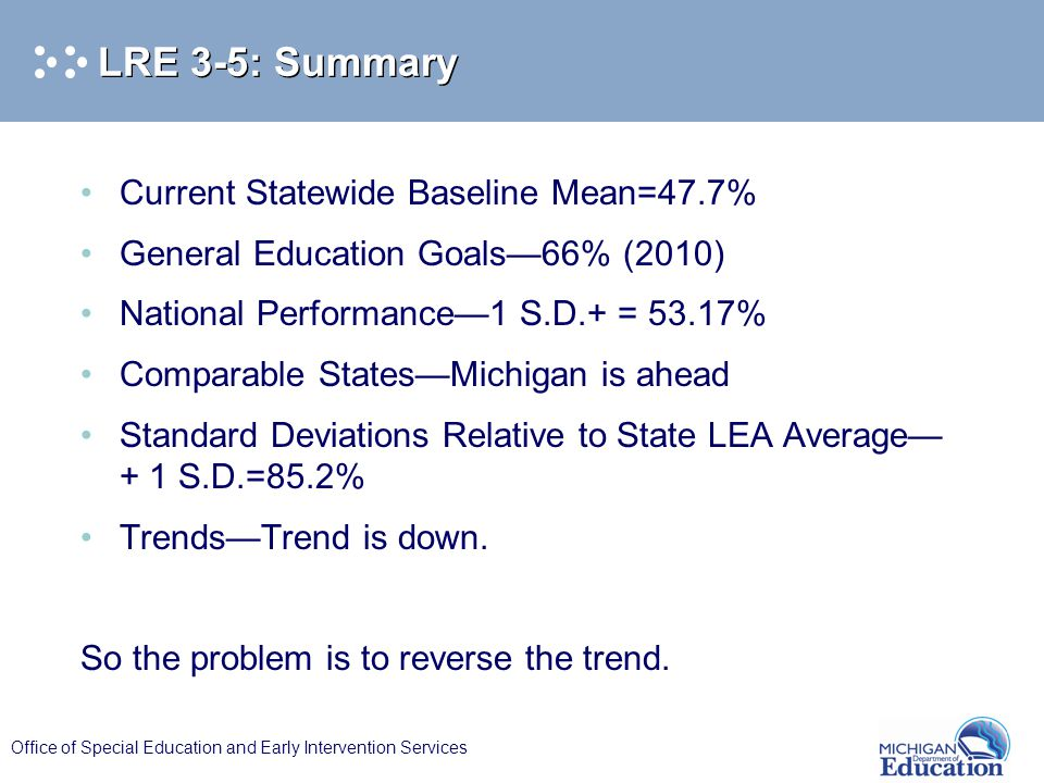 Office of Special Education and Early Intervention Services LRE 3-5: Summary Current Statewide Baseline Mean=47.7% General Education Goals—66% (2010) National Performance—1 S.D.+ = 53.17% Comparable States—Michigan is ahead Standard Deviations Relative to State LEA Average— + 1 S.D.=85.2% Trends—Trend is down.