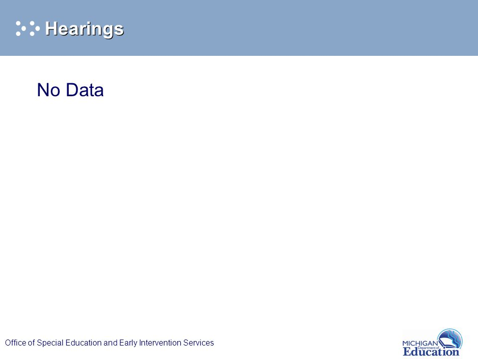 Office of Special Education and Early Intervention Services Hearings No Data