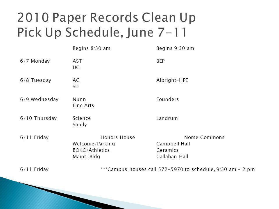  Commonly used record series  Records pick up schedule, June 7-11  Can also find volume equivalents