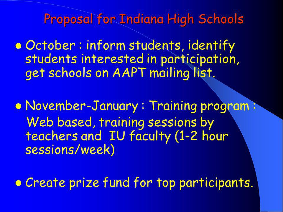 Proposal for Indiana High Schools October : inform students, identify students interested in participation, get schools on AAPT mailing list. November