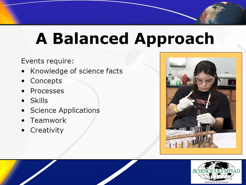 A Balanced Approach Events require: Knowledge of science facts Concepts Processes Skills Science Applications Teamwork Creativity
