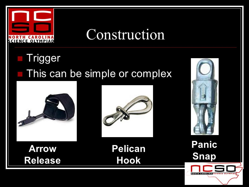 Construction Trigger This can be simple or complex Arrow Release Pelican Hook Panic Snap