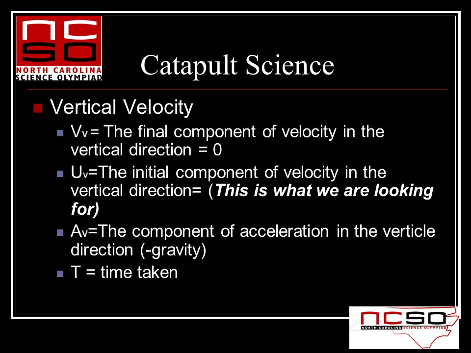 Vertical Velocity V v = The final component of velocity in the vertical direction = 0 U v =The initial component of velocity in the vertical direction