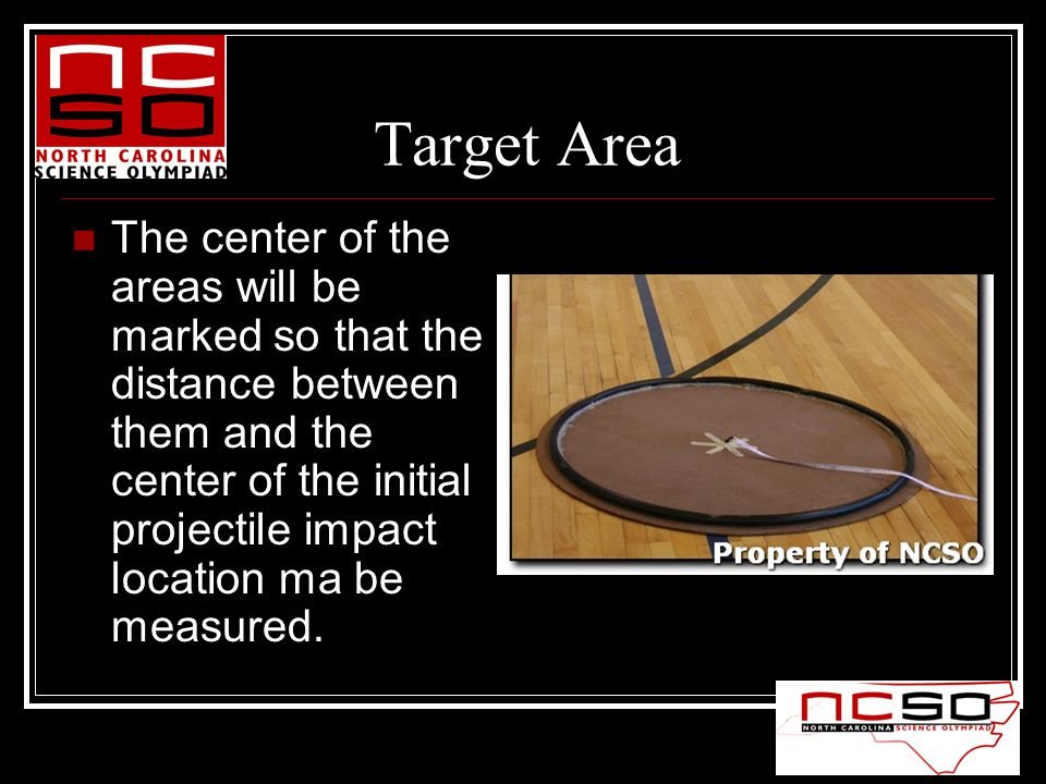 Target Area The center of the areas will be marked so that the distance between them and the center of the initial projectile impact location ma be measured.