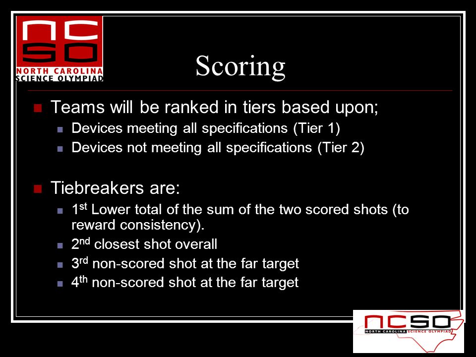 Scoring Teams will be ranked in tiers based upon; Devices meeting all specifications (Tier 1) Devices not meeting all specifications (Tier 2) Tiebreak