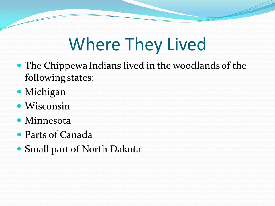 Where They Lived The Chippewa Indians lived in the woodlands of the following states: Michigan Wisconsin Minnesota Parts of Canada Small part of North Dakota