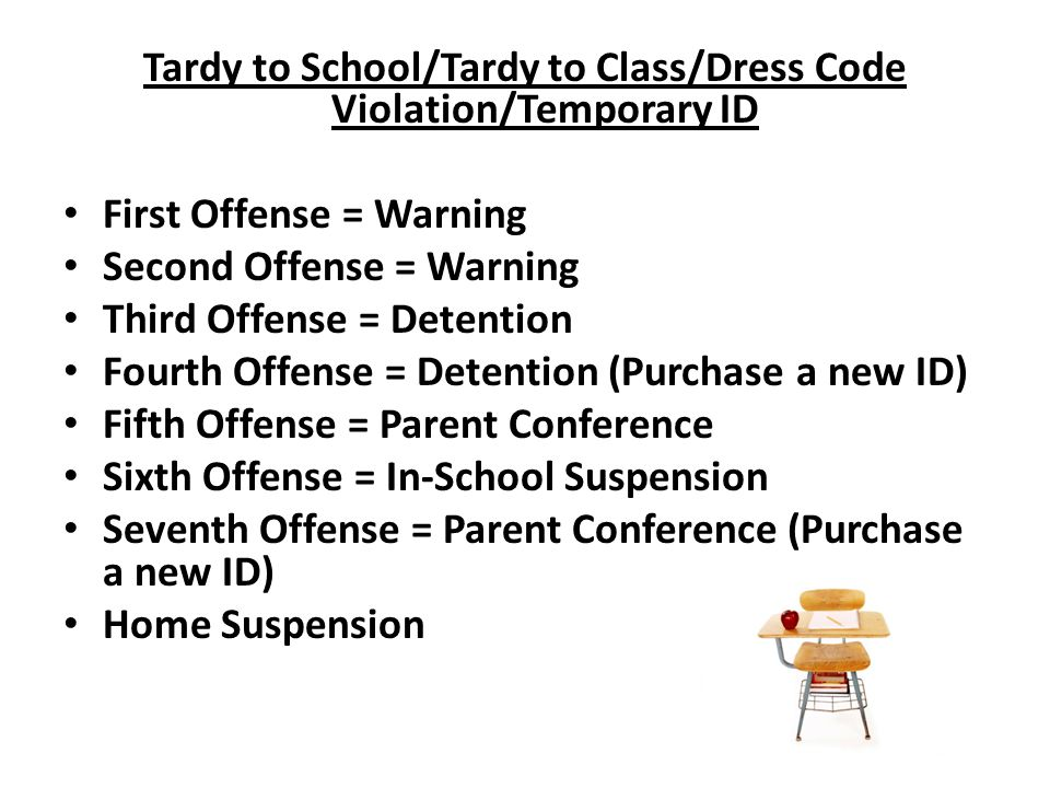 Tardy to School/Tardy to Class/Dress Code Violation/Temporary ID First Offense = Warning Second Offense = Warning Third Offense = Detention Fourth Offense = Detention (Purchase a new ID) Fifth Offense = Parent Conference Sixth Offense = In-School Suspension Seventh Offense = Parent Conference (Purchase a new ID) Home Suspension