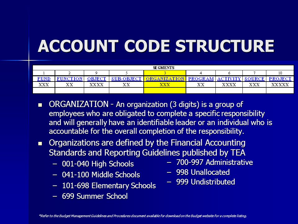 ACCOUNT CODE STRUCTURE ORGANIZATION - An organization (3 digits) is a group of employees who are obligated to complete a specific responsibility and w