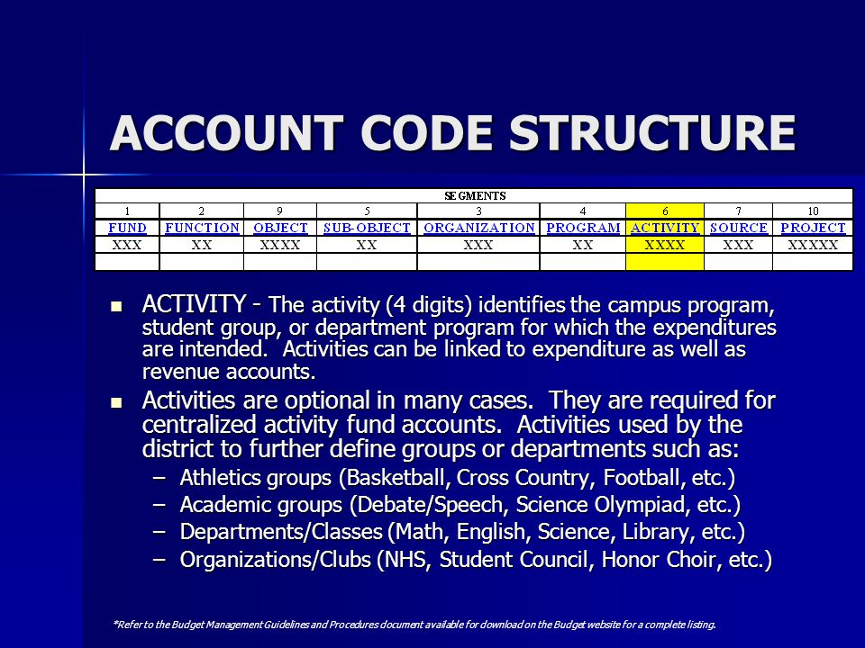 ACCOUNT CODE STRUCTURE ACTIVITY - The activity (4 digits) identifies the campus program, student group, or department program for which the expenditur