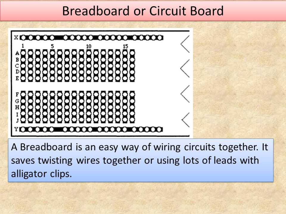 Breadboard or Circuit Board A Breadboard is an easy way of wiring circuits together. It saves twisting wires together or using lots of leads with alli