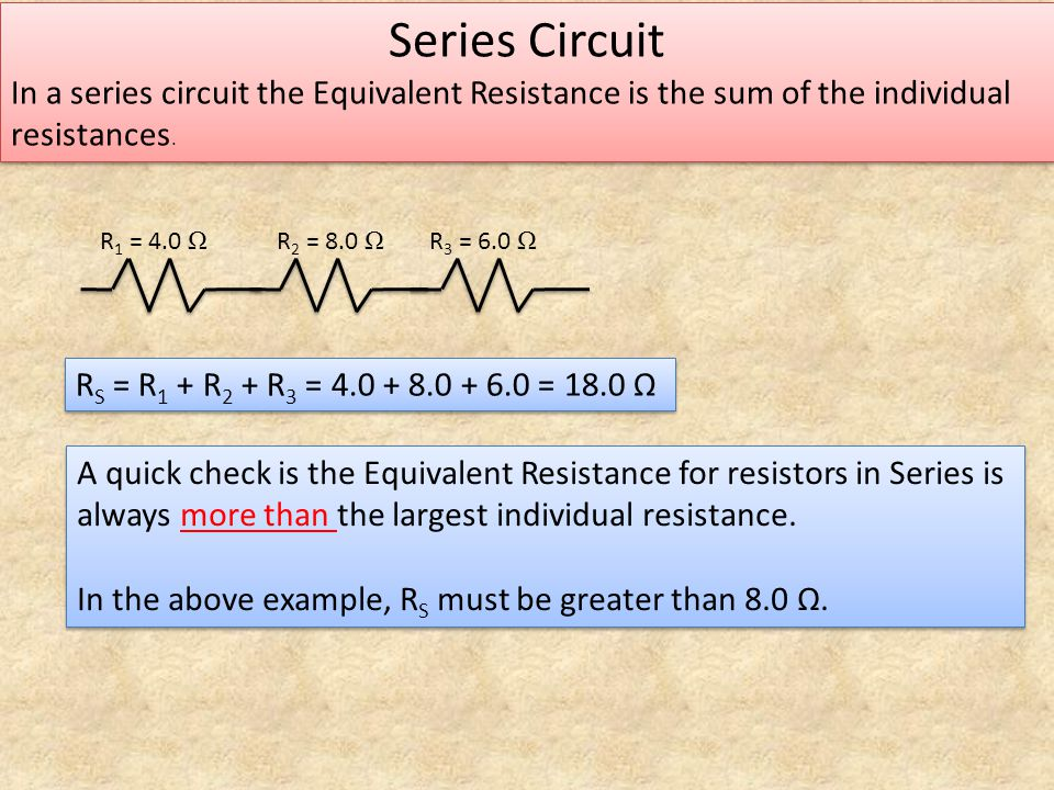 Series Circuit In a series circuit the Equivalent Resistance is the sum of the individual resistances. Series Circuit In a series circuit the Equivale