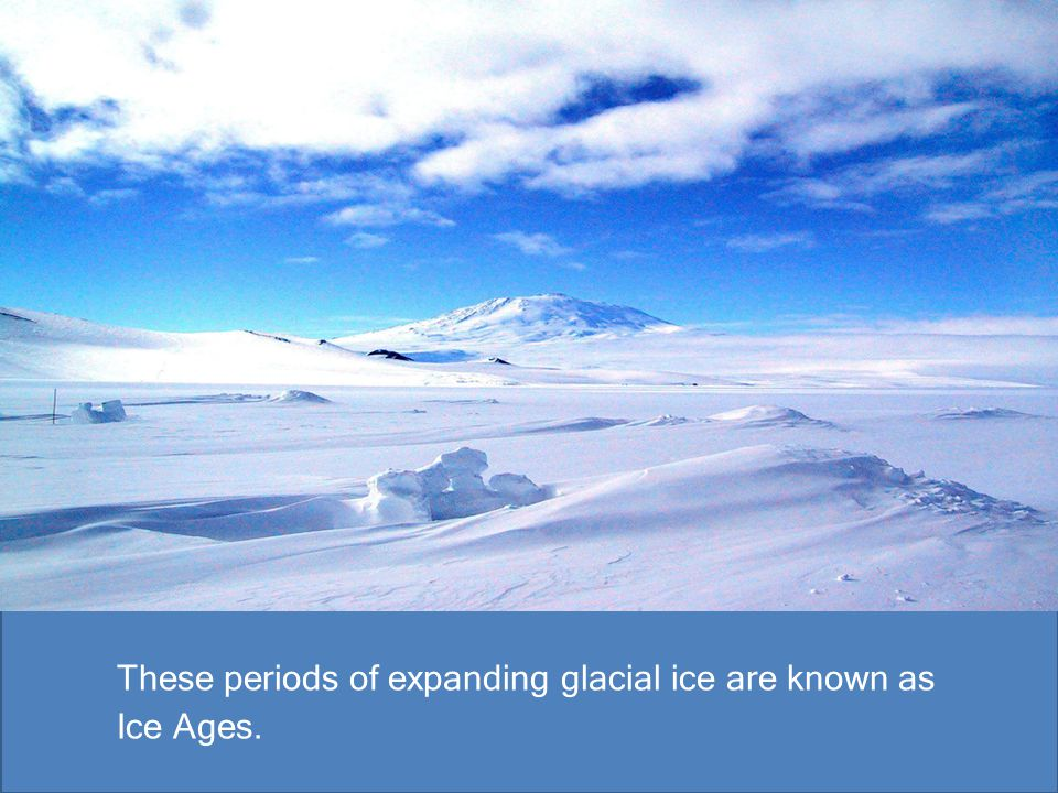 These periods of expanding glacial ice are known as Ice Ages.