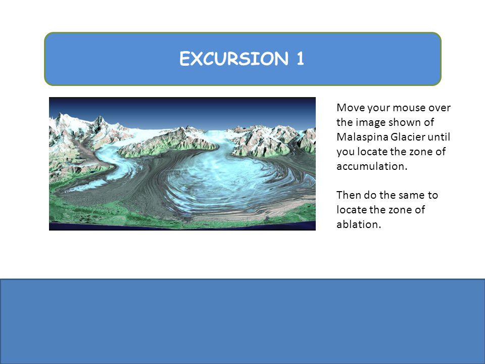 EXCURSION 1 Move your mouse over the image shown of Malaspina Glacier until you locate the zone of accumulation. Then do the same to locate the zone o