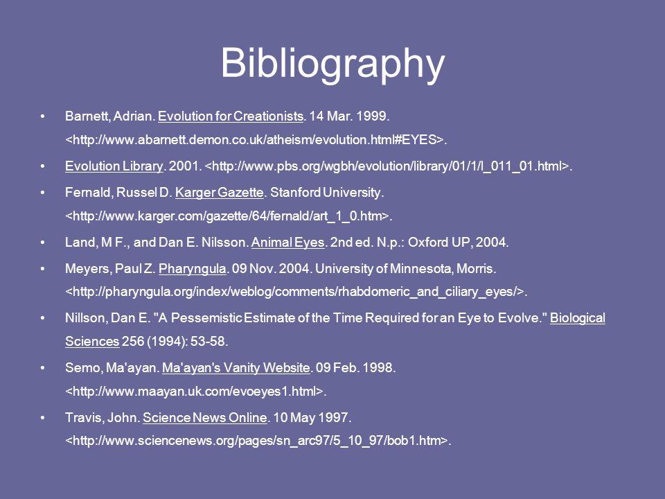 Bibliography Barnett, Adrian.Evolution for Creationists.