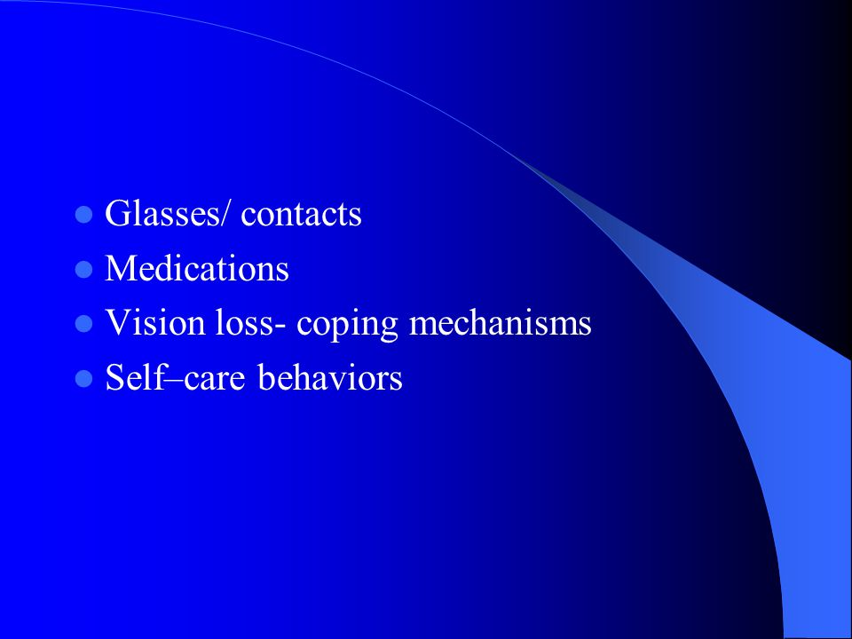 Subjective data Vision difficulty Pain Strabismus, diplopia Redness, swelling Watering, discharge Past history ocular problems Glaucoma