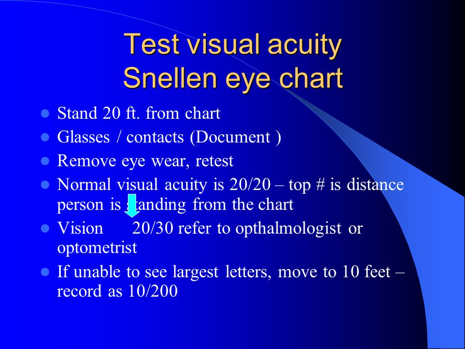 Objective data The Physical Exam Preparation – Position- sitting, head at eye level Equipment – Snellen eye chart- visual acuity – Handheld visual screener-near vision – Opaque card – Penlight – Applicator stick – Ophthalmoscope