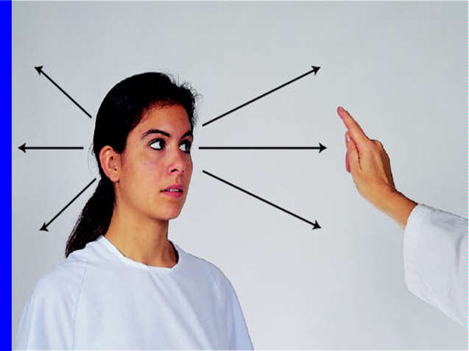 Diagnostic Positions Test 6 cardinal positions of gaze – – Determines muscle weakness during movement – Person must hold head steady – Follow movement of object (examiner's finger, pen etc) only with eyes – Hold object 12 in.