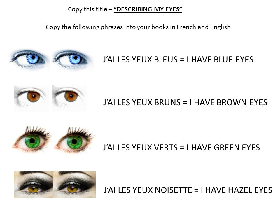 """Copy this title – """"DESCRIBING MY EYES"""" Copy the following phrases into your books in French and English J'AI LES YEUX BLEUS = I HAVE BLUE EYES J'AI LE"""