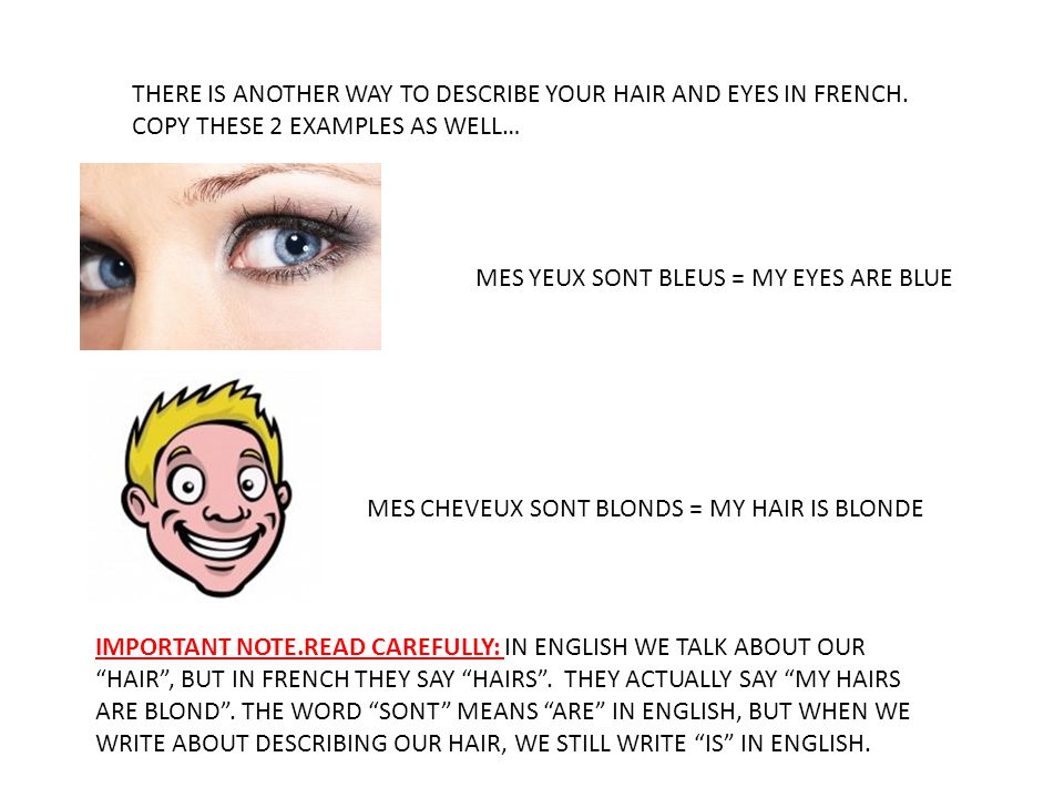 THERE IS ANOTHER WAY TO DESCRIBE YOUR HAIR AND EYES IN FRENCH. COPY THESE 2 EXAMPLES AS WELL… MES YEUX SONT BLEUS = MY EYES ARE BLUE MES CHEVEUX SONT