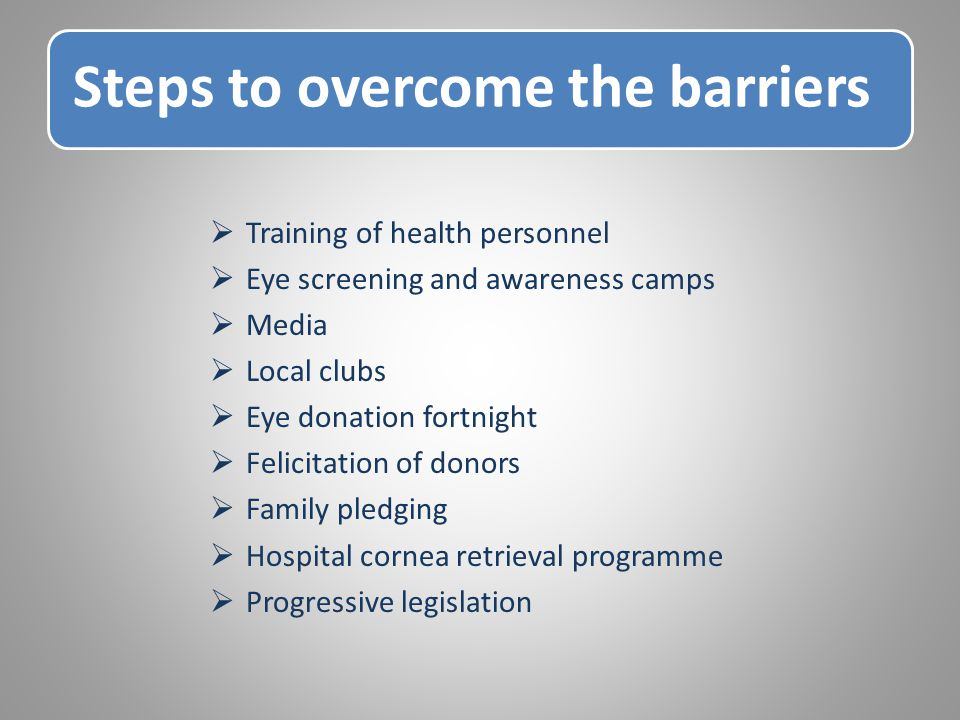 Steps to overcome the barriers  Training of health personnel  Eye screening and awareness camps  Media  Local clubs  Eye donation fortnight  Felicitation of donors  Family pledging  Hospital cornea retrieval programme  Progressive legislation