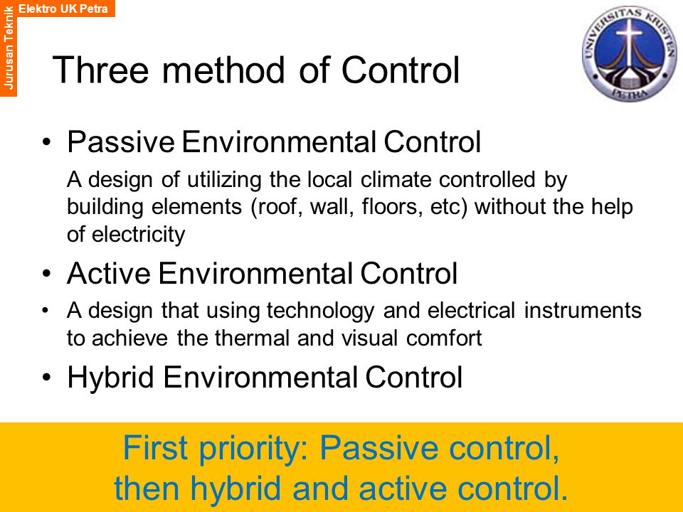 Elektro UK Petra Jurusan Teknik Three method of Control Passive Environmental Control A design of utilizing the local climate controlled by building elements (roof, wall, floors, etc) without the help of electricity Active Environmental Control A design that using technology and electrical instruments to achieve the thermal and visual comfort Hybrid Environmental Control First priority: Passive control, then hybrid and active control.