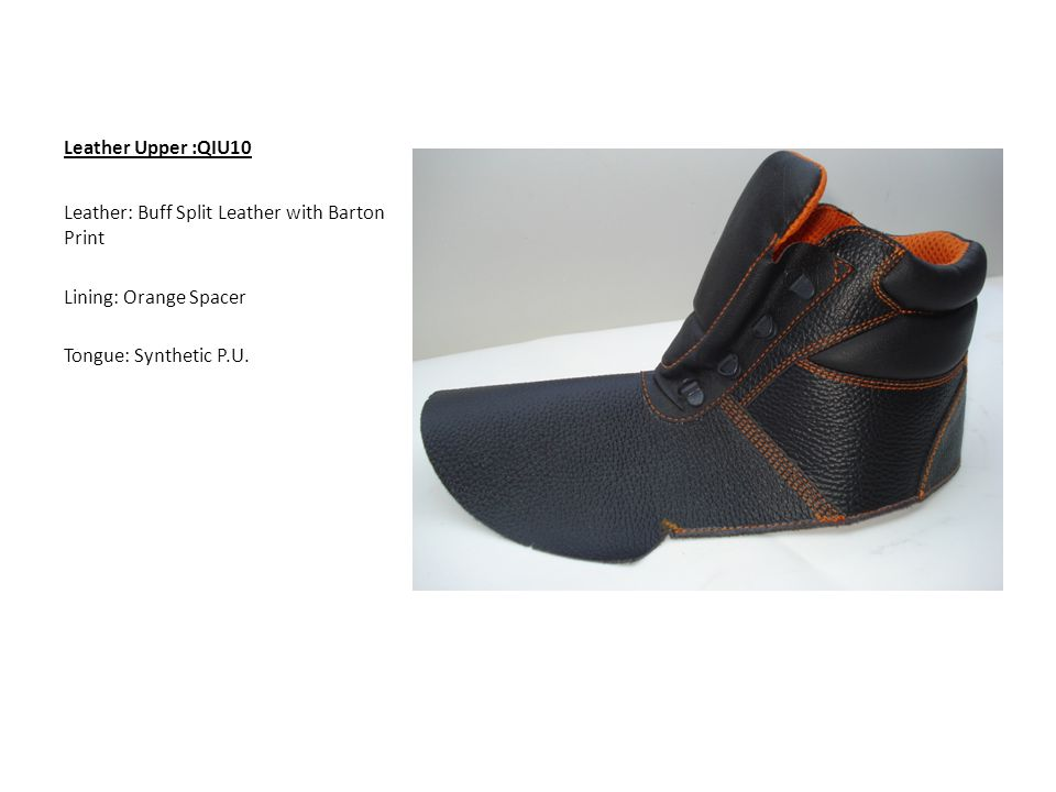 Leather Upper :QIU10 Leather: Buff Split Leather with Barton Print Lining: Orange Spacer Tongue: Synthetic P.U.