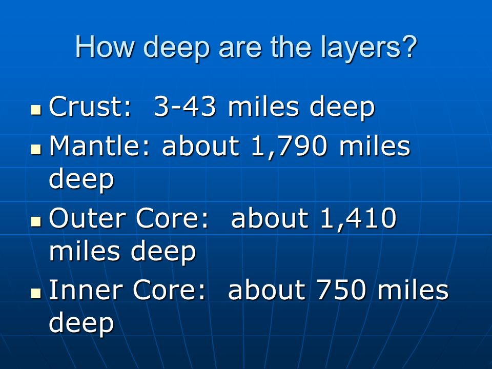 Which layer is the hottest? Inner Core-may be as hot as the sun Inner Core-may be as hot as the sun
