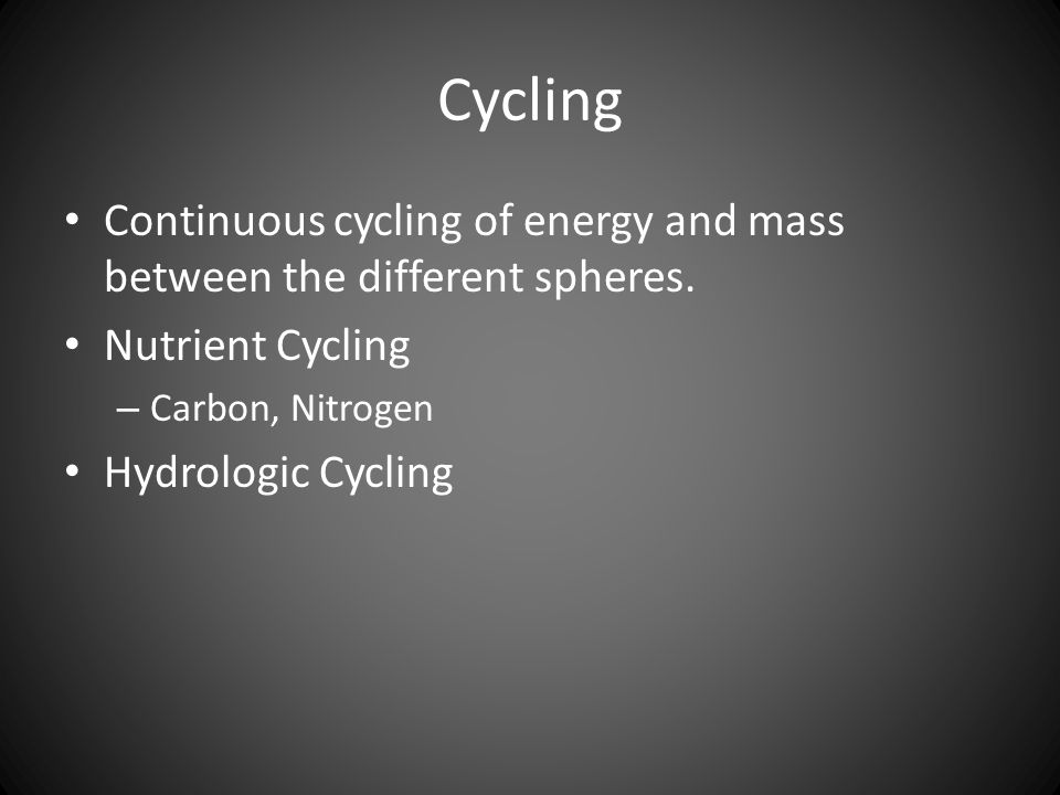 Cycling Continuous cycling of energy and mass between the different spheres.