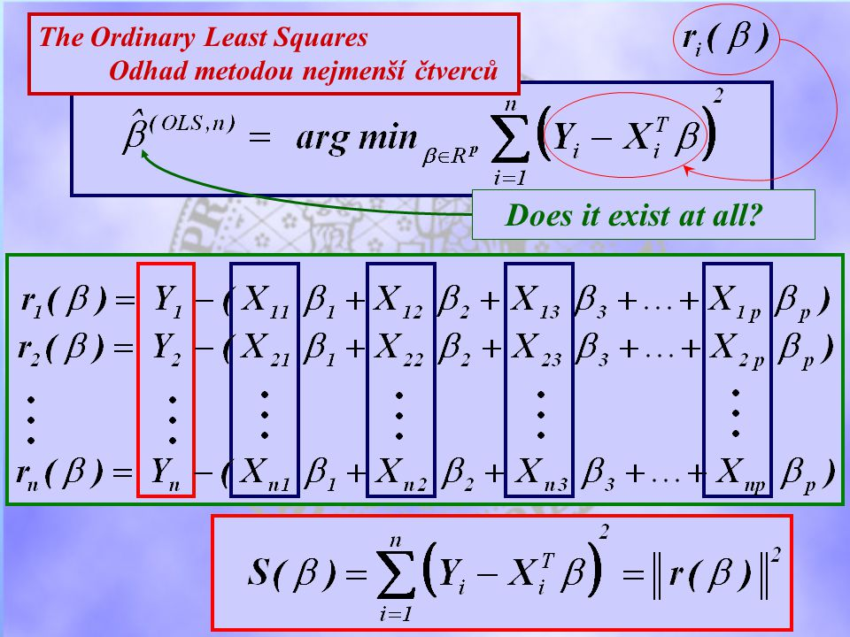 The Ordinary Least Squares Odhad metodou nejmenší čtverců Does it exist at all