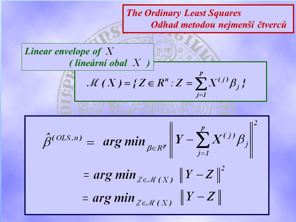 The Ordinary Least Squares Odhad metodou nejmenší čtverců Linear envelope of ( lineární obal )