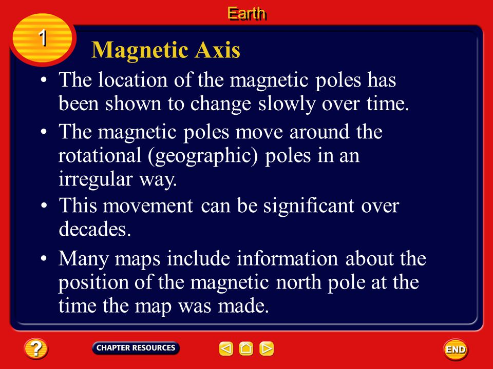 Magnetic Axis 1 1 Earth's magnetic axis, the line joining its north and south poles, does not align with its rotational axis. The magnetic axis is inc
