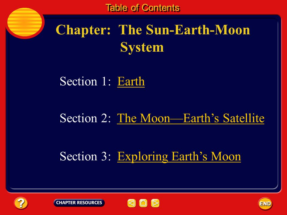 Chapter: The Sun-Earth-Moon System Table of Contents Section 3: Exploring Earth's MoonExploring Earth's Moon Section 1: Earth Section 2: The Moon—Earth's Satellite
