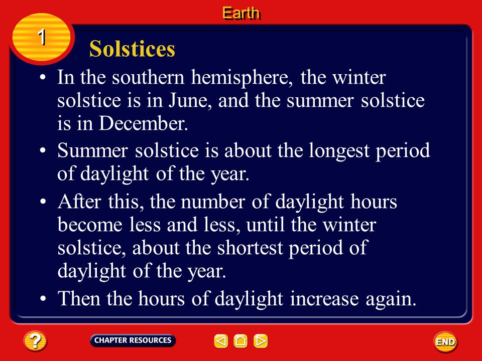Solstices 1 1 The solstice is the day when the Sun reaches its greatest distance north or south of the equator. In the northern hemisphere, the summer