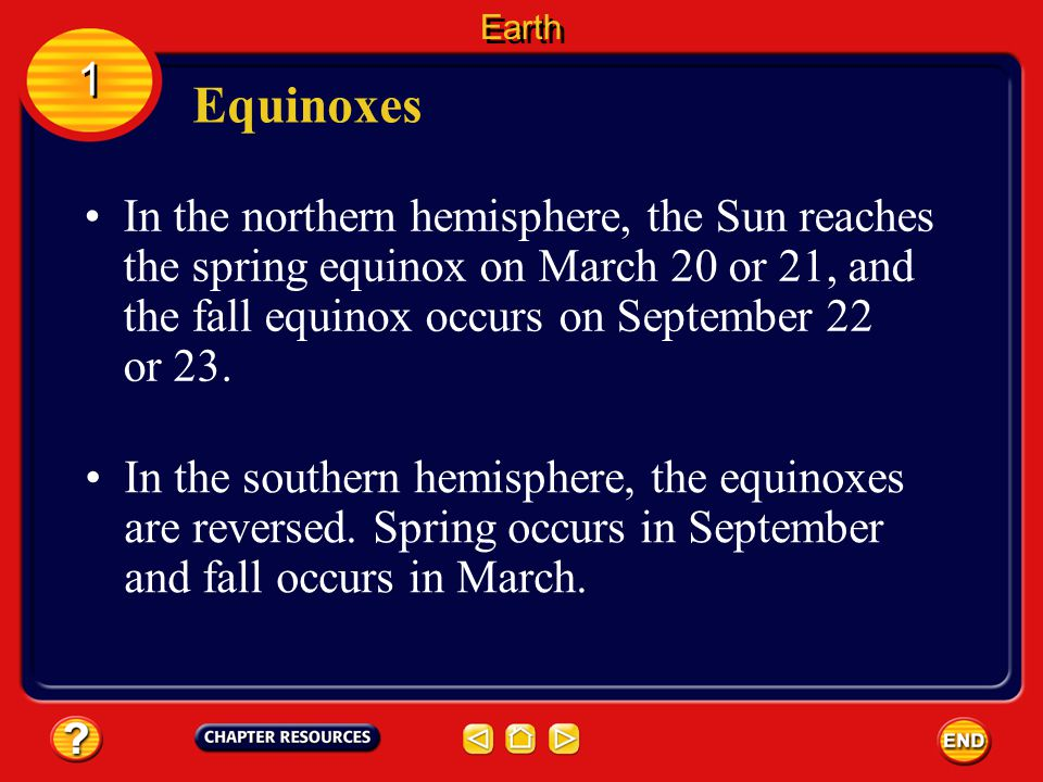 Equinoxes 1 1 During an equinox, the number of daylight hours and nighttime hours is nearly equal all over the world. Also at this time, neither the n