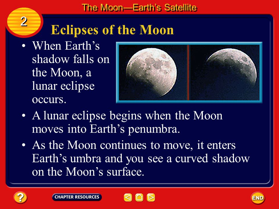 Eclipses of the Sun The Moon—Earth's Satellite 2 2 Surrounding the umbra is a lighter shadow on Earth's surface called the penumbra. Person's standing