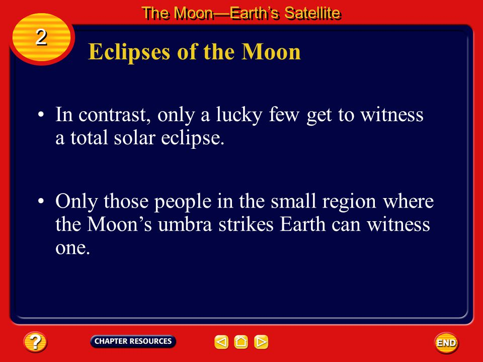 Eclipses of the Moon The Moon—Earth's Satellite 2 2 It is difficult to tell when a penumbral lunar eclipse occurs because some sunlight continues to f